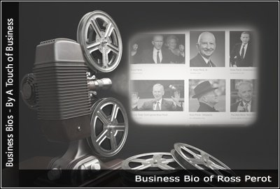 Image of a projector displaying images related to Ross Perot