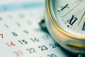 A clock on a calendar